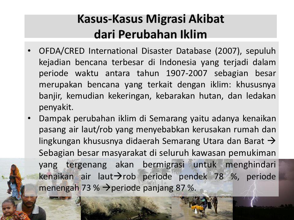 Kasus-Kasus Migrasi Akibat dari Perubahan Iklim • OFDA/CRED International Disaster Database (2007), sepuluh kejadian bencana terbesar di Indonesia yan