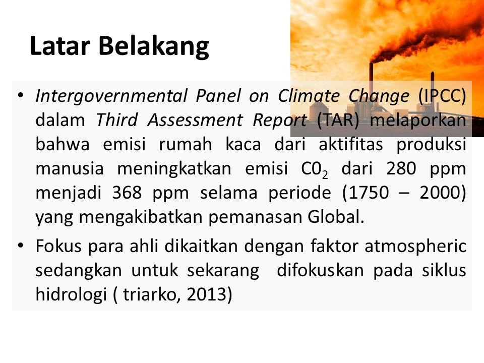 • Intergovernmental Panel on Climate Change (IPCC) dalam Third Assessment Report (TAR) melaporkan bahwa emisi rumah kaca dari aktifitas produksi manus