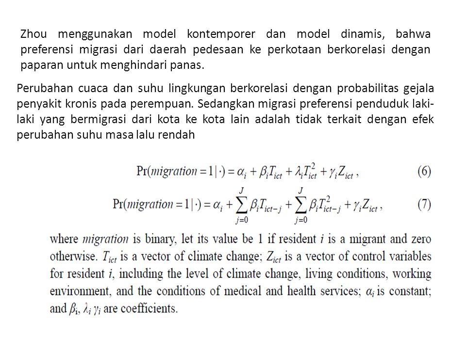 Perubahan cuaca dan suhu lingkungan berkorelasi dengan probabilitas gejala penyakit kronis pada perempuan. Sedangkan migrasi preferensi penduduk laki-