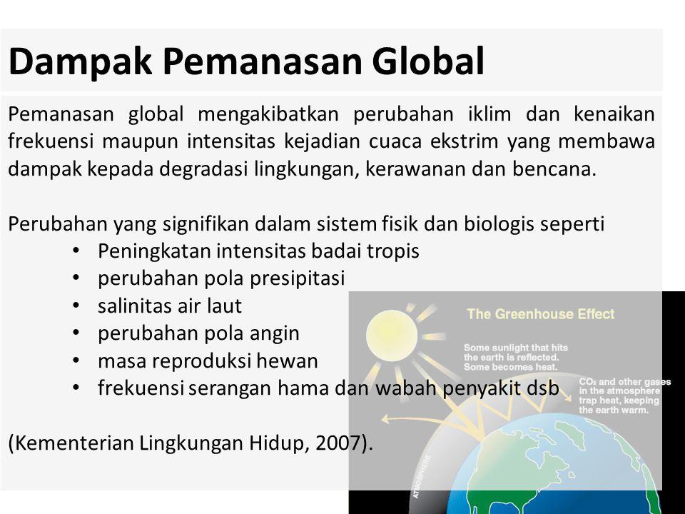 Pemanasan global mengakibatkan perubahan iklim dan kenaikan frekuensi maupun intensitas kejadian cuaca ekstrim yang membawa dampak kepada degradasi li