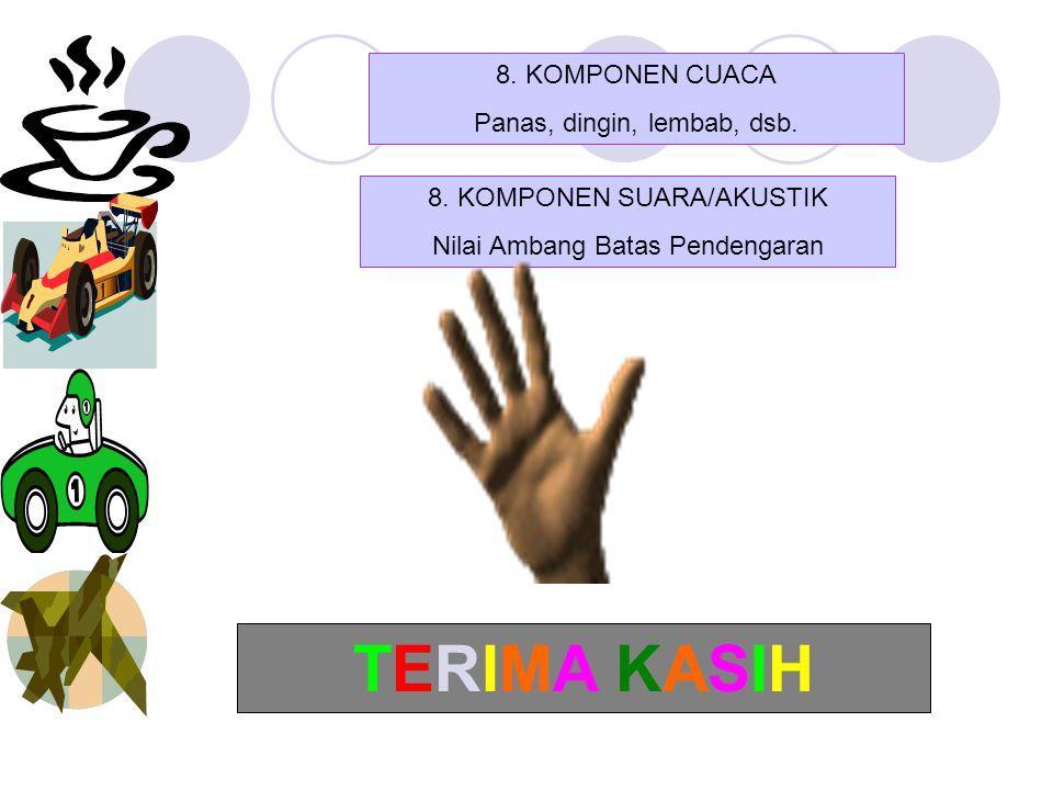 8. KOMPONEN CUACA Panas, dingin, lembab, dsb. 8. KOMPONEN SUARA/AKUSTIK Nilai Ambang Batas Pendengaran TERIMA KASIHTERIMA KASIH