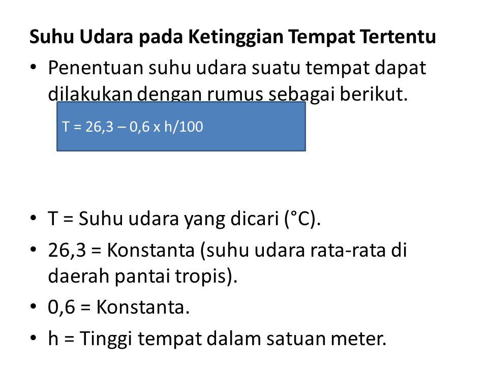 Suhu Udara pada Ketinggian Tempat Tertentu • Penentuan suhu udara suatu tempat dapat dilakukan dengan rumus sebagai berikut. • T = Suhu udara yang dic