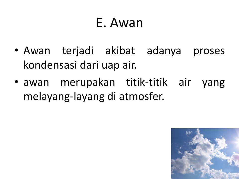 E. Awan • Awan terjadi akibat adanya proses kondensasi dari uap air. • awan merupakan titik-titik air yang melayang-layang di atmosfer.