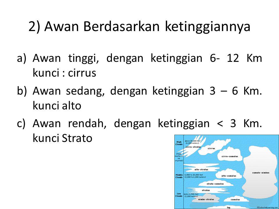 2) Awan Berdasarkan ketinggiannya a)Awan tinggi, dengan ketinggian 6- 12 Km kunci : cirrus b)Awan sedang, dengan ketinggian 3 – 6 Km. kunci alto c)Awa