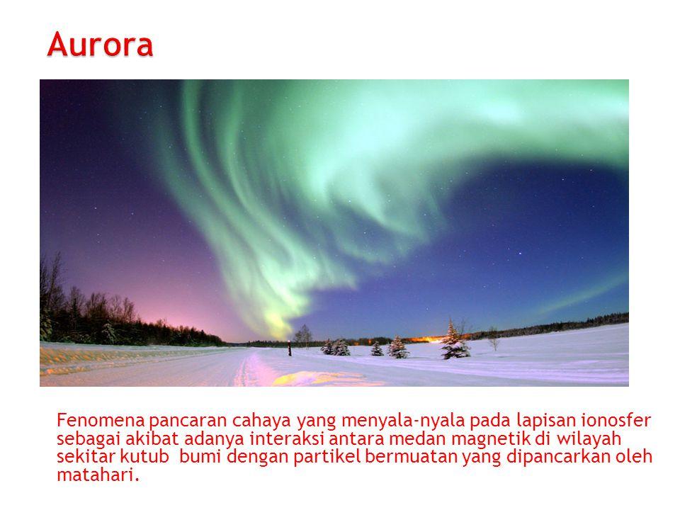 Fenomena pancaran cahaya yang menyala-nyala pada lapisan ionosfer sebagai akibat adanya interaksi antara medan magnetik di wilayah sekitar kutub bumi