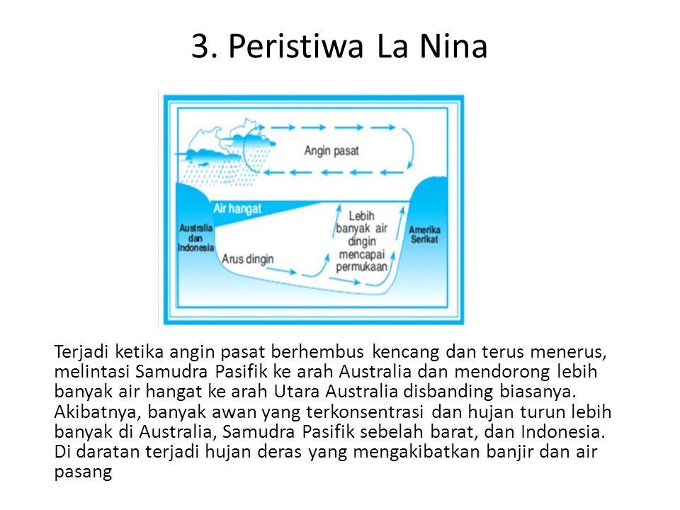 3. Peristiwa La Nina Terjadi ketika angin pasat berhembus kencang dan terus menerus, melintasi Samudra Pasifik ke arah Australia dan mendorong lebih b