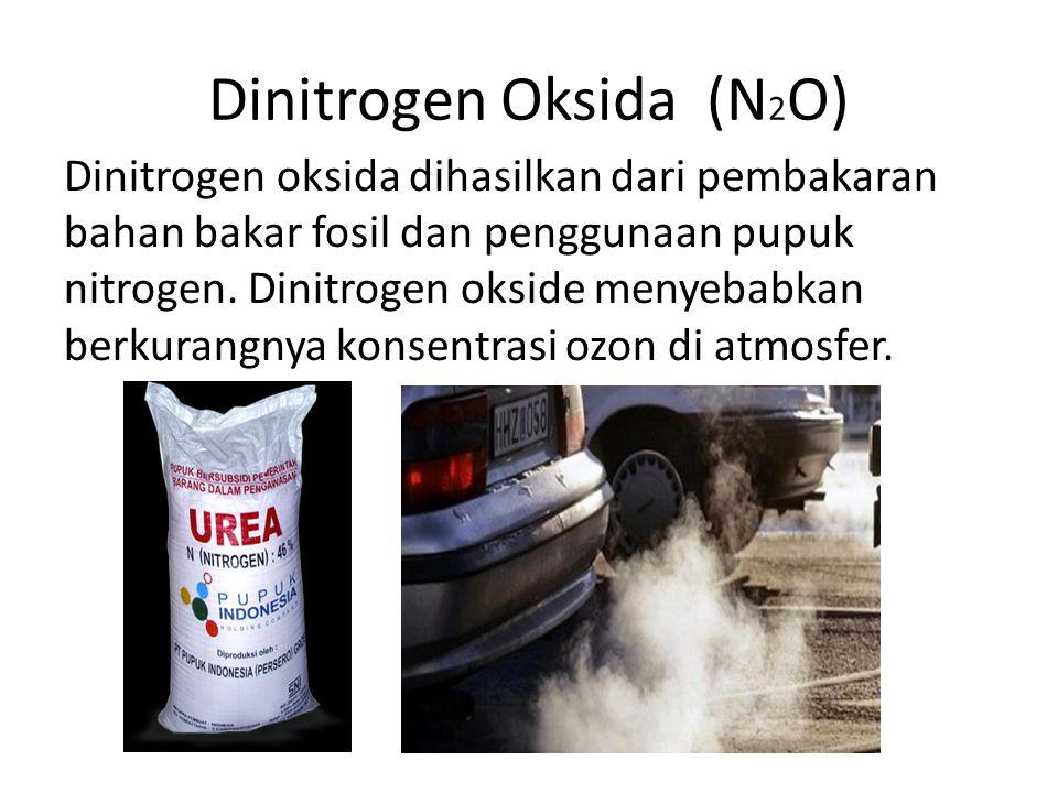 Dinitrogen Oksida (N 2 O) Dinitrogen oksida dihasilkan dari pembakaran bahan bakar fosil dan penggunaan pupuk nitrogen. Dinitrogen okside menyebabkan