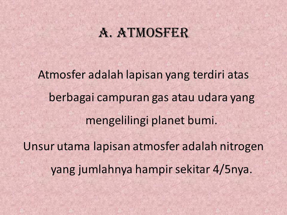 A. ATMOSFER Atmosfer adalah lapisan yang terdiri atas berbagai campuran gas atau udara yang mengelilingi planet bumi. Unsur utama lapisan atmosfer ada