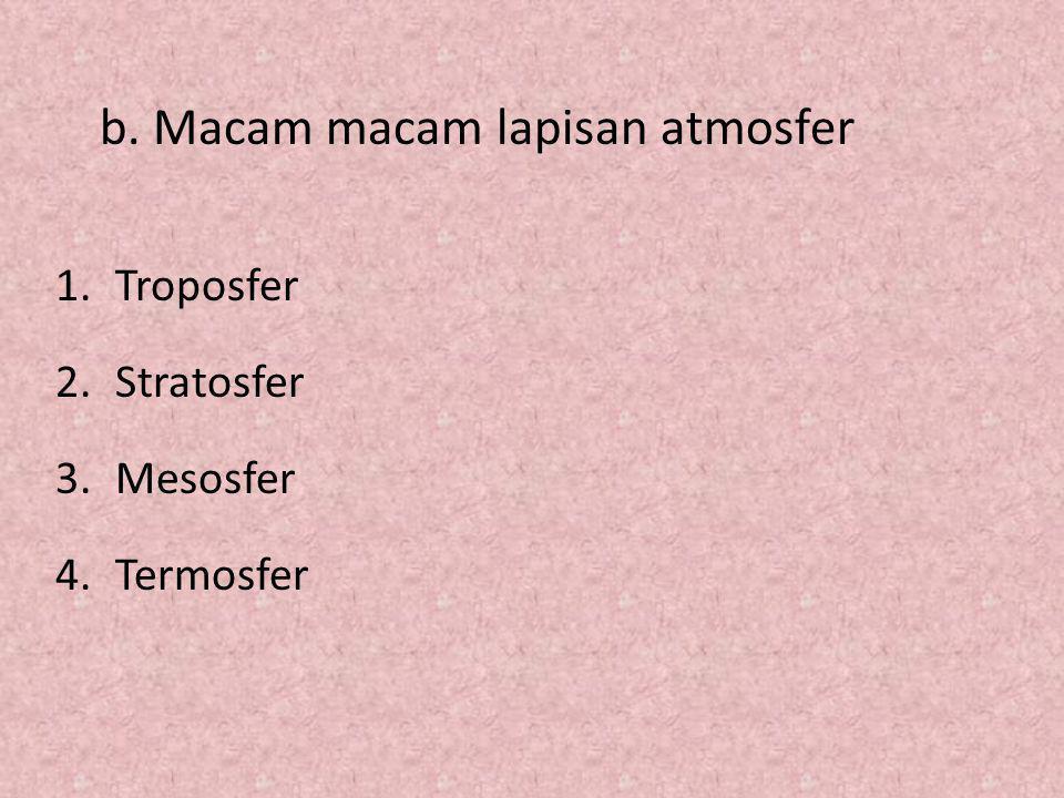 1.Troposfer 2.Stratosfer 3.Mesosfer 4.Termosfer b. Macam macam lapisan atmosfer