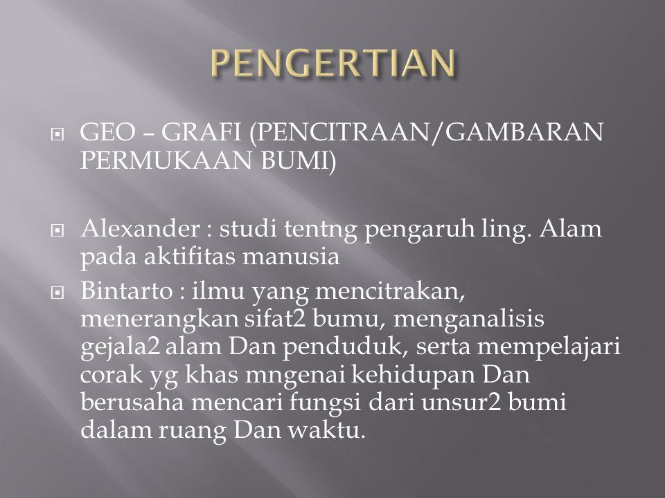  GEO – GRAFI (PENCITRAAN/GAMBARAN PERMUKAAN BUMI)  Alexander : studi tentng pengaruh ling.