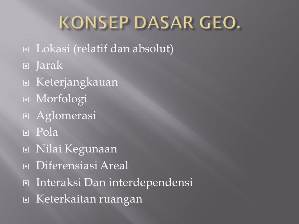  PENDEKATAN KERUANGAN Berfokus pada ruang geografi berdasarkan struktur, pola dan proses  PENDEKATAN EKOLOGI Berfokus pada hubungan manusia dan lingkungan  PEND.