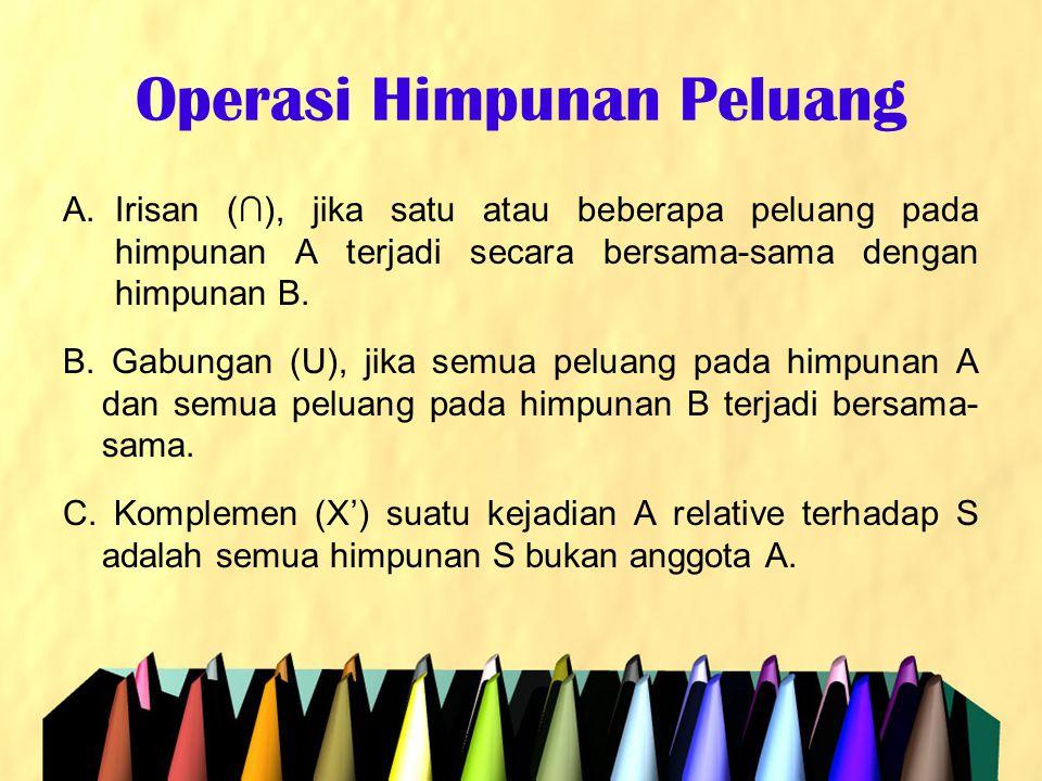Operasi Himpunan Peluang A.Irisan (∩), jika satu atau beberapa peluang pada himpunan A terjadi secara bersama-sama dengan himpunan B. B. Gabungan (U),