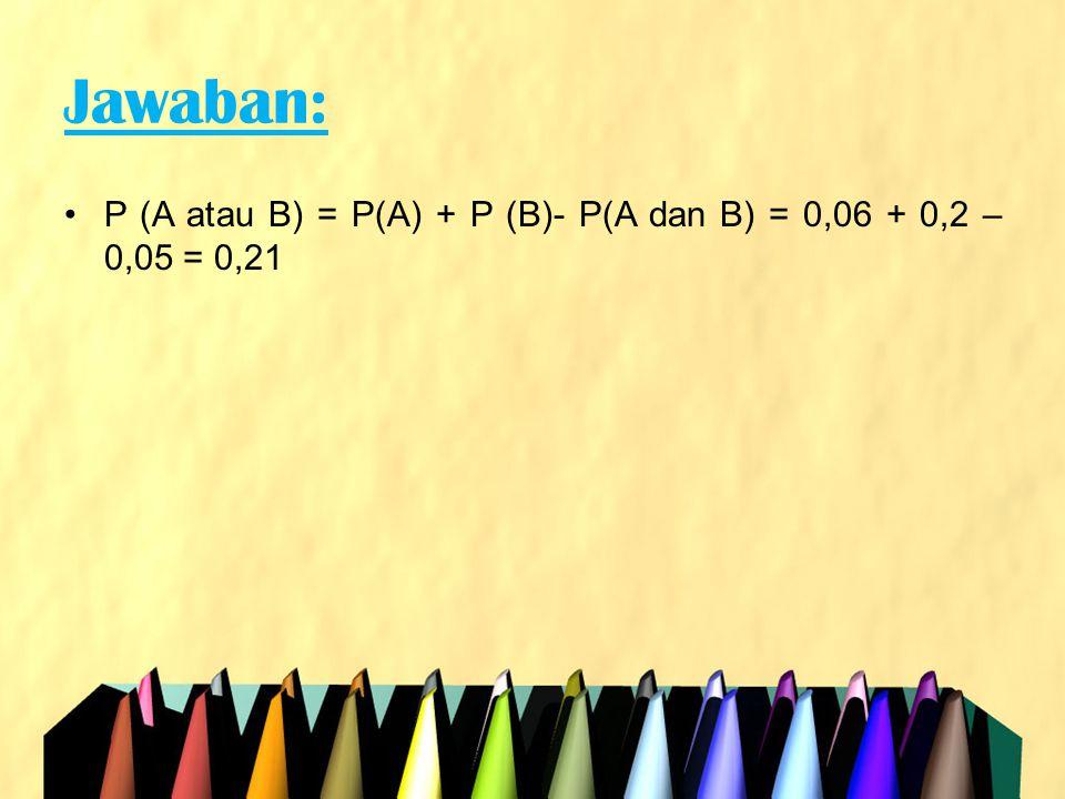Jawaban: •P (A atau B) = P(A) + P (B)- P(A dan B) = 0,06 + 0,2 – 0,05 = 0,21