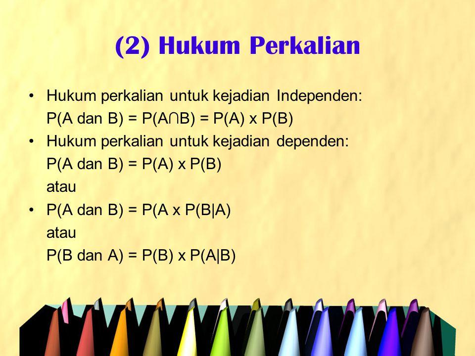(2) Hukum Perkalian •Hukum perkalian untuk kejadian Independen: P(A dan B) = P(A∩B) = P(A) x P(B) •Hukum perkalian untuk kejadian dependen: P(A dan B)
