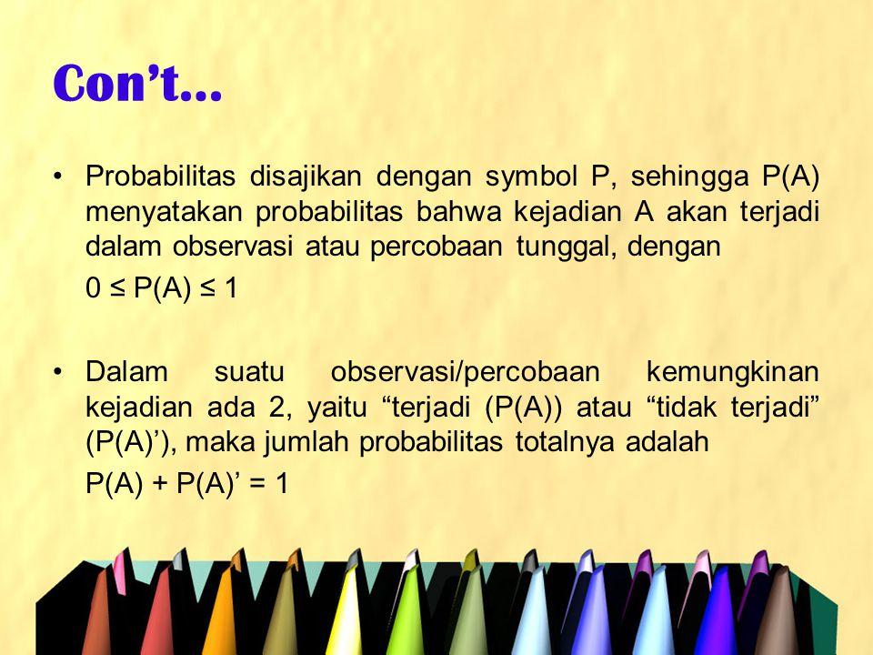Con't… •Probabilitas disajikan dengan symbol P, sehingga P(A) menyatakan probabilitas bahwa kejadian A akan terjadi dalam observasi atau percobaan tun