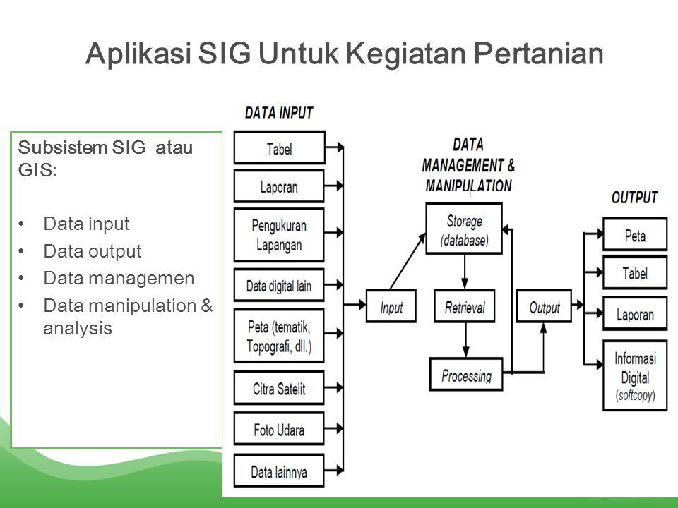 Komponen-komponen SIG: •Hardware yakni komputer; •Software yakni tool (input dan trnsformasi data geografis: query geografis, analisis, dan visualisasi, & Graphical User Interface ).
