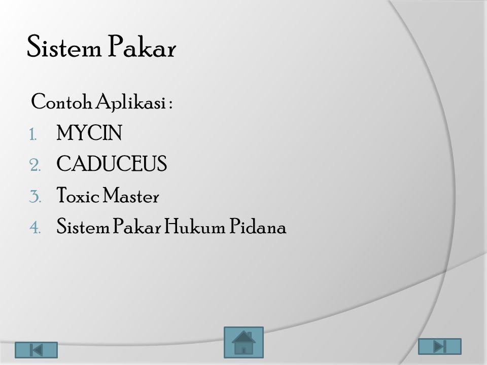 Sistem Pakar Contoh Aplikasi : 1. MYCIN 2. CADUCEUS 3. Toxic Master 4. Sistem Pakar Hukum Pidana