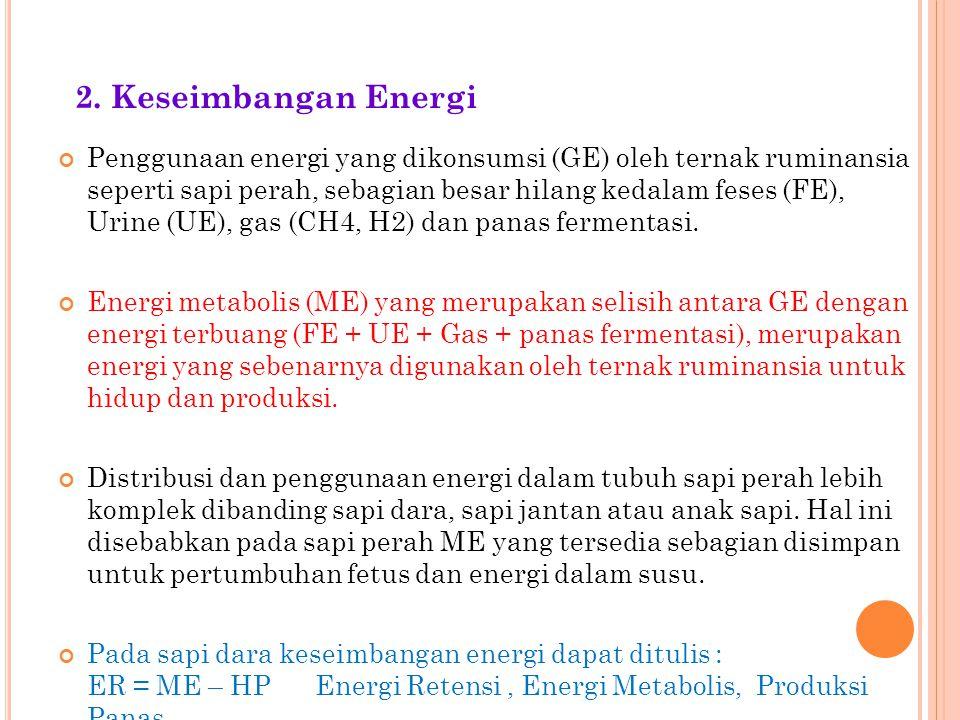 Penggunaan energi yang dikonsumsi (GE) oleh ternak ruminansia seperti sapi perah, sebagian besar hilang kedalam feses (FE), Urine (UE), gas (CH4, H2)
