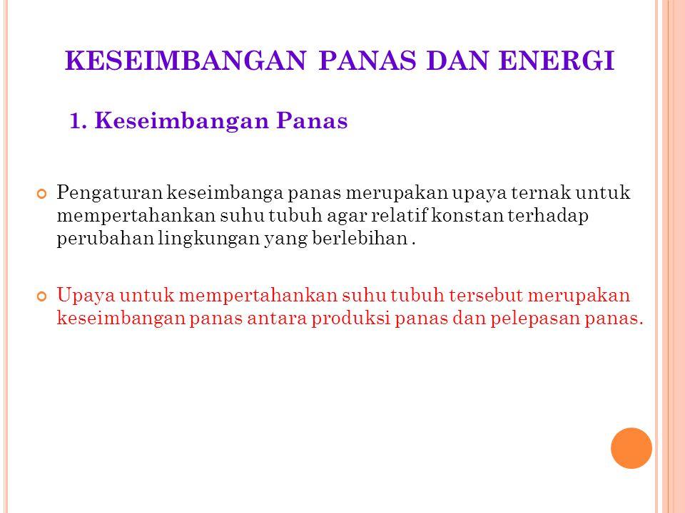 KESEIMBANGAN PANAS DAN ENERGI Pengaturan keseimbanga panas merupakan upaya ternak untuk mempertahankan suhu tubuh agar relatif konstan terhadap peruba
