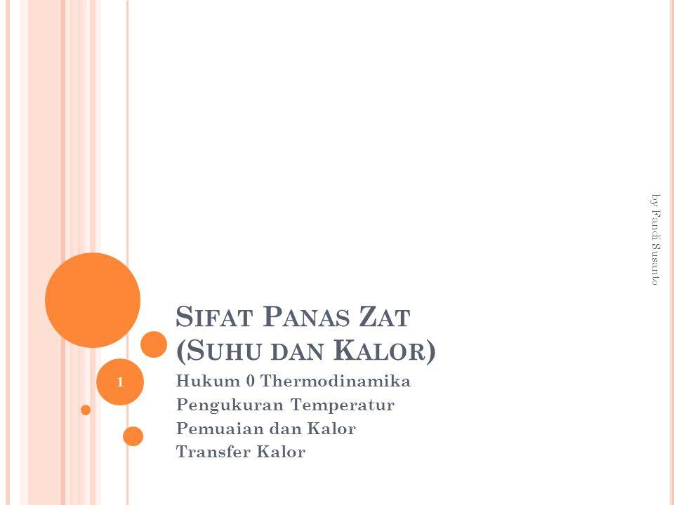 S IFAT P ANAS Z AT (S UHU DAN K ALOR ) Hukum 0 Thermodinamika Pengukuran Temperatur Pemuaian dan Kalor Transfer Kalor 1 by Fandi Susanto