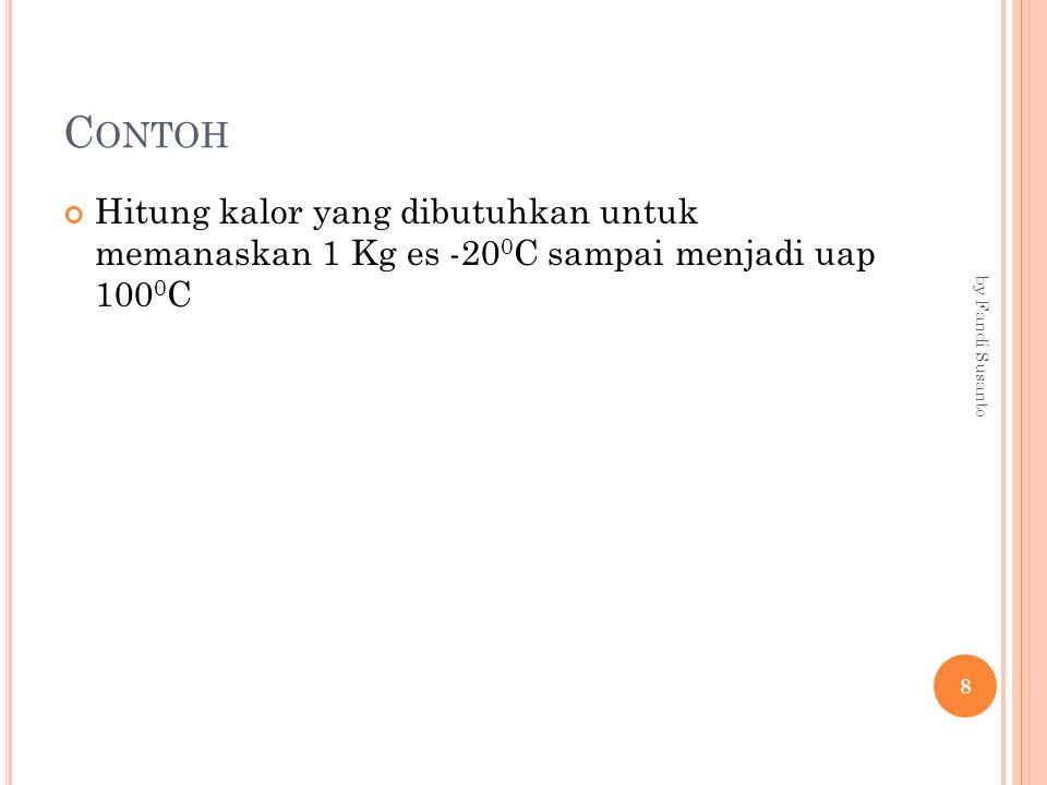 C ONTOH Hitung kalor yang dibutuhkan untuk memanaskan 1 Kg es -20 0 C sampai menjadi uap 100 0 C 8 by Fandi Susanto