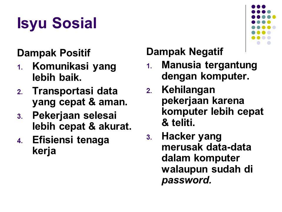 Isyu Sosial Dampak Positif 1. Komunikasi yang lebih baik. 2. Transportasi data yang cepat & aman. 3. Pekerjaan selesai lebih cepat & akurat. 4. Efisie