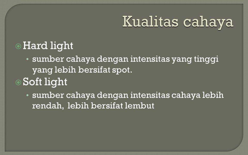  Hard light • sumber cahaya dengan intensitas yang tinggi yang lebih bersifat spot.  Soft light • sumber cahaya dengan intensitas cahaya lebih renda