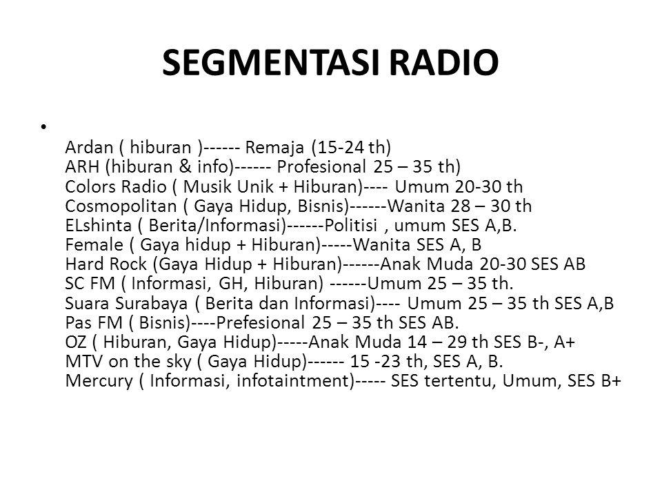 SEGMENTASI RADIO • Ardan ( hiburan )------ Remaja (15-24 th) ARH (hiburan & info)------ Profesional 25 – 35 th) Colors Radio ( Musik Unik + Hiburan)--