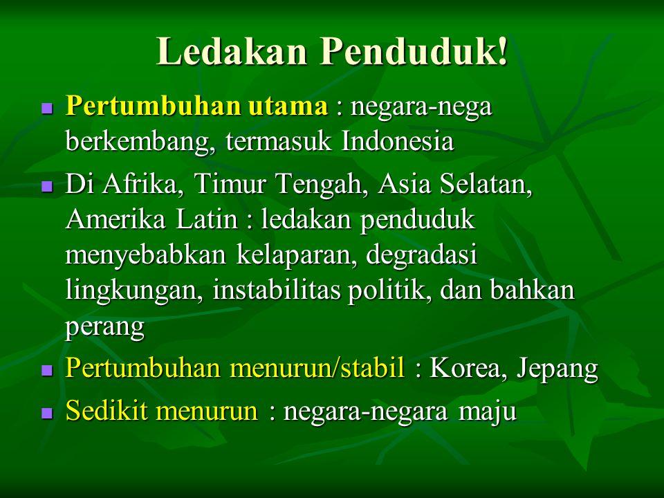 Ledakan Penduduk!  Pertumbuhan utama : negara-nega berkembang, termasuk Indonesia  Di Afrika, Timur Tengah, Asia Selatan, Amerika Latin : ledakan pe