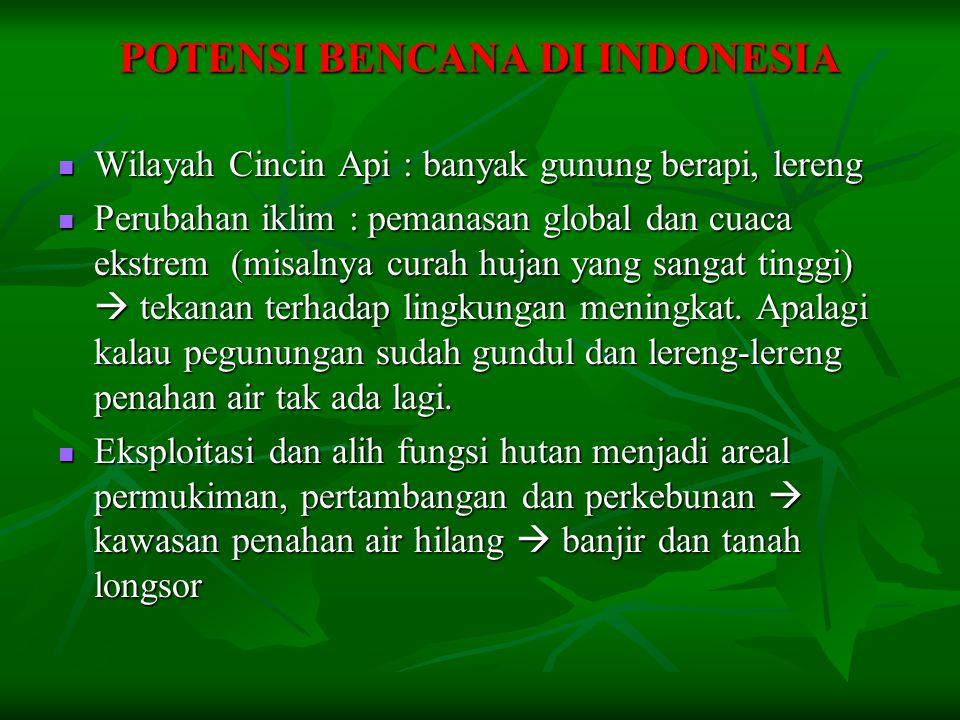 POTENSI BENCANA DI INDONESIA  Wilayah Cincin Api : banyak gunung berapi, lereng  Perubahan iklim : pemanasan global dan cuaca ekstrem (misalnya curah hujan yang sangat tinggi)  tekanan terhadap lingkungan meningkat.