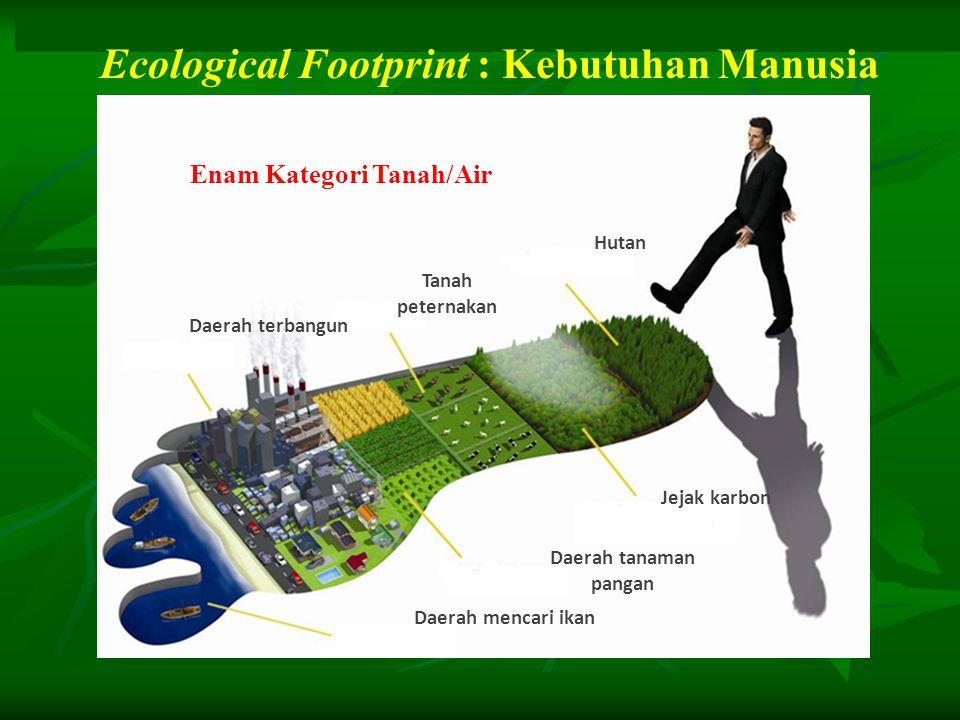 Hutan Jejak karbon Daerah tanaman pangan Daerah mencari ikan Tanah peternakan Daerah terbangun Ecological Footprint : Kebutuhan Manusia Enam Kategori