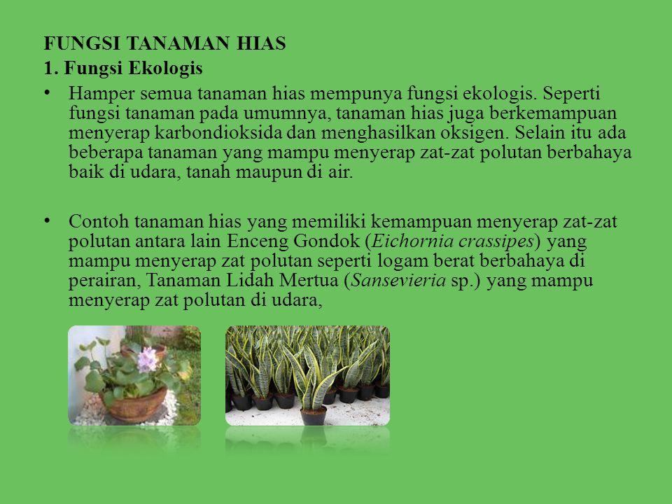 FUNGSI TANAMAN HIAS 1.Fungsi Ekologis • Hamper semua tanaman hias mempunya fungsi ekologis.