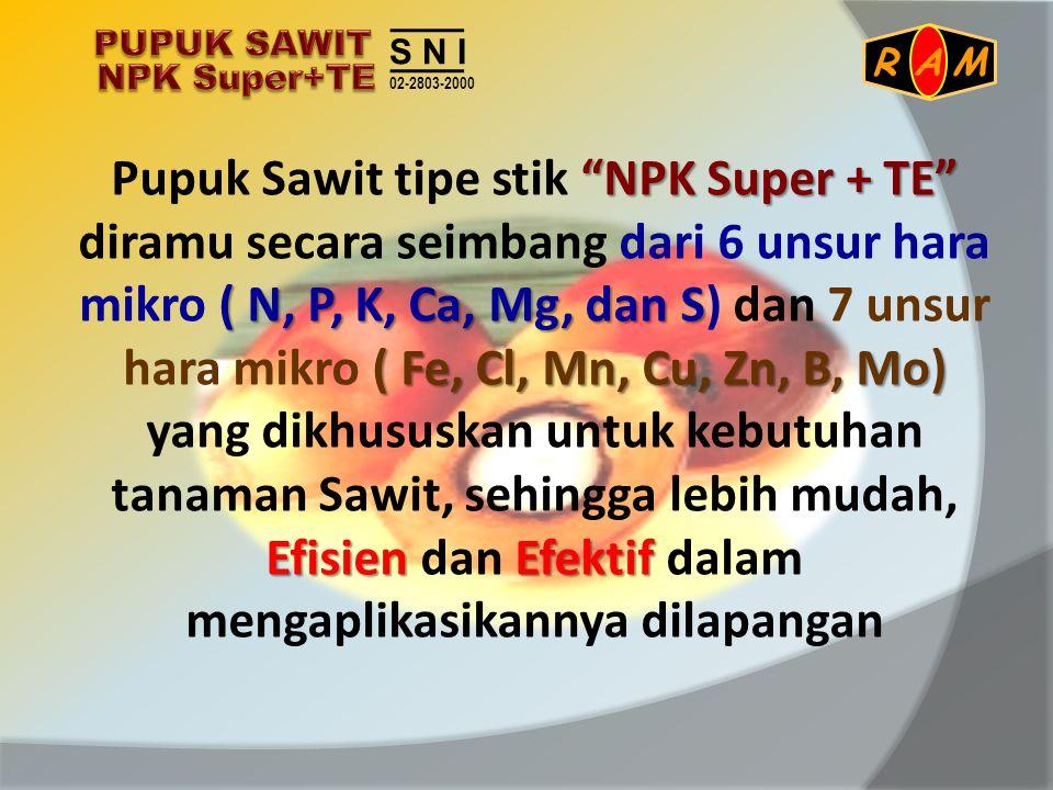 """""""NPK Super + TE"""" ( N, P, K, Ca, Mg, dan S ( Fe, Cl, Mn, Cu, Zn, B, Mo) EfisienEfektif Pupuk Sawit tipe stik """"NPK Super + TE"""" diramu secara seimbang da"""