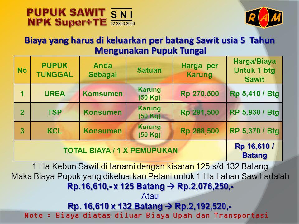 Biaya yang harus di keluarkan per batang Sawit usia 5 Tahun 1 Ha Kebun Sawit di tanami dengan kisaran 125 s/d 132 Batang Maka Biaya Pupuk yang dikelua