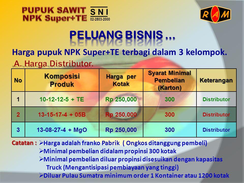 Harga pupuk NPK Super+TE terbagi dalam 3 kelompok. NoKomposisiProdukKeterangan Harga per Kotak Syarat Minimal Pembelian (Karton) 110-12-12-5 + TE Dist