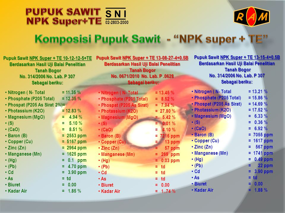 • Nitrogen ( N- Total= 11.35 % • Phosphate (P205 Total)= 12.35 % • Phospat (P205 As Sirat 2%)= • Photassium (K2O)= 12.83 % • Magnesium (MgO)= 4.94 % •