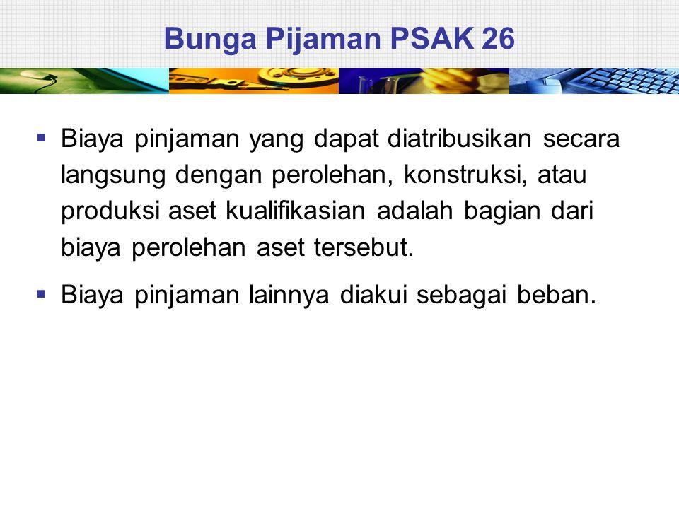 Bunga Pijaman PSAK 26  Biaya pinjaman yang dapat diatribusikan secara langsung dengan perolehan, konstruksi, atau produksi aset kualifikasian adalah bagian dari biaya perolehan aset tersebut.