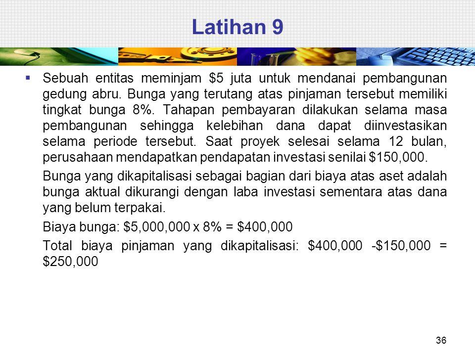 Latihan 9 36  Sebuah entitas meminjam $5 juta untuk mendanai pembangunan gedung abru.