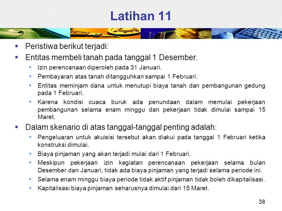 Latihan 11 38  Peristiwa berikut terjadi:  Entitas membeli tanah pada tanggal 1 Desember.