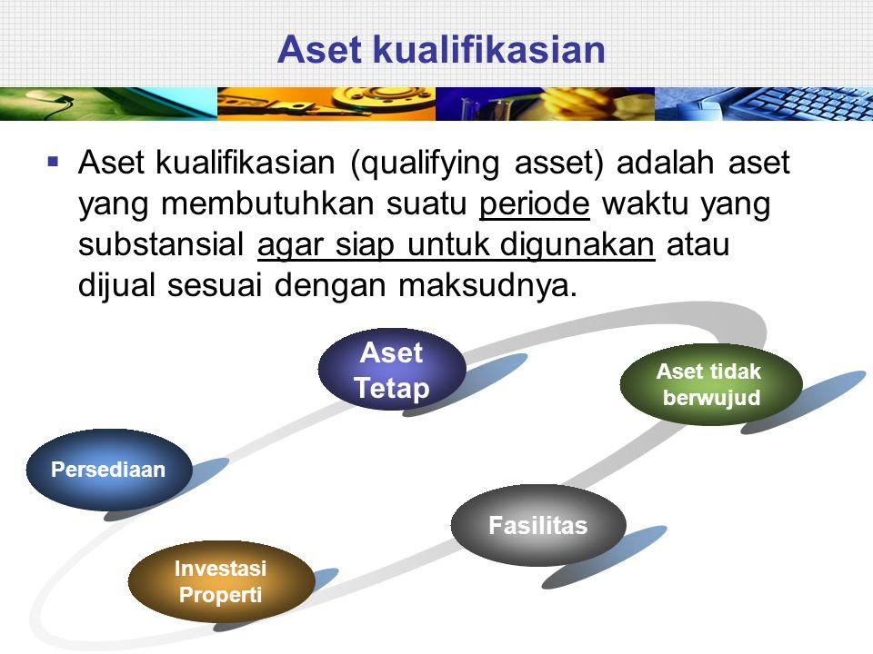 Aset kualifikasian Aset Tetap Persediaan Investasi Properti Fasilitas Aset tidak berwujud  Aset kualifikasian (qualifying asset) adalah aset yang membutuhkan suatu periode waktu yang substansial agar siap untuk digunakan atau dijual sesuai dengan maksudnya.