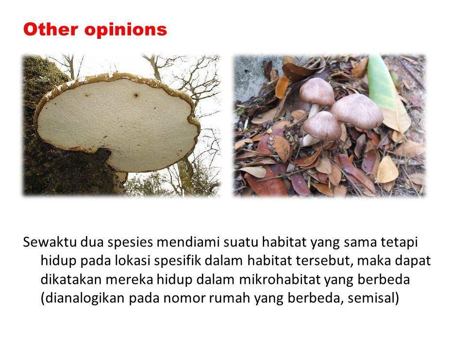 Other opinions Sewaktu dua spesies mendiami suatu habitat yang sama tetapi hidup pada lokasi spesifik dalam habitat tersebut, maka dapat dikatakan mer