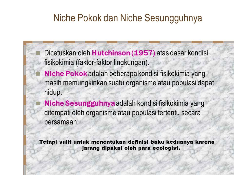 Niche Pokok dan Niche Sesungguhnya  Dicetuskan oleh Hutchinson (1957) atas dasar kondisi fisikokimia (faktor-faktor lingkungan).  Niche Pokok adalah
