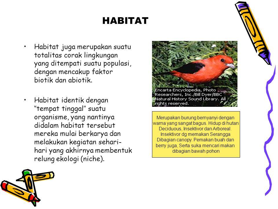 HABITAT •Habitat juga merupakan suatu totalitas corak lingkungan yang ditempati suatu populasi, dengan mencakup faktor biotik dan abiotik. •Habitat id