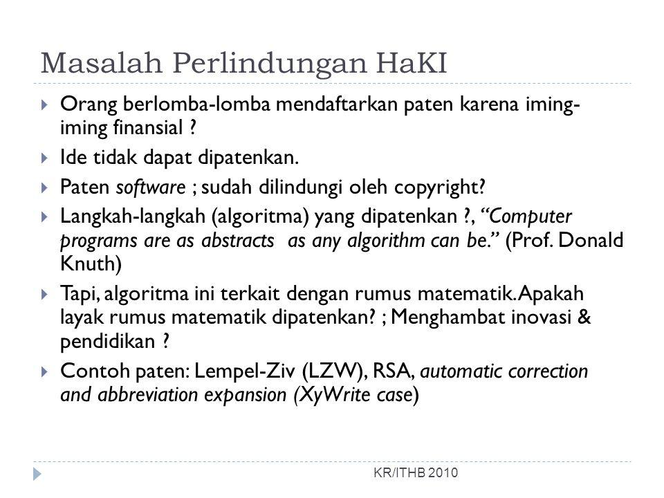 Masalah Perlindungan HaKI KR/ITHB 2010  Orang berlomba-lomba mendaftarkan paten karena iming- iming finansial ?  Ide tidak dapat dipatenkan.  Paten