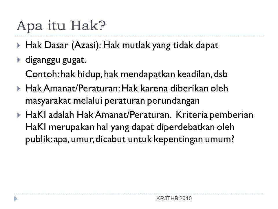 HAKI KR/ITHB 2010 Secara garis besar HaKI dibagi dalam 2 (dua) bagian, yaitu: 1.