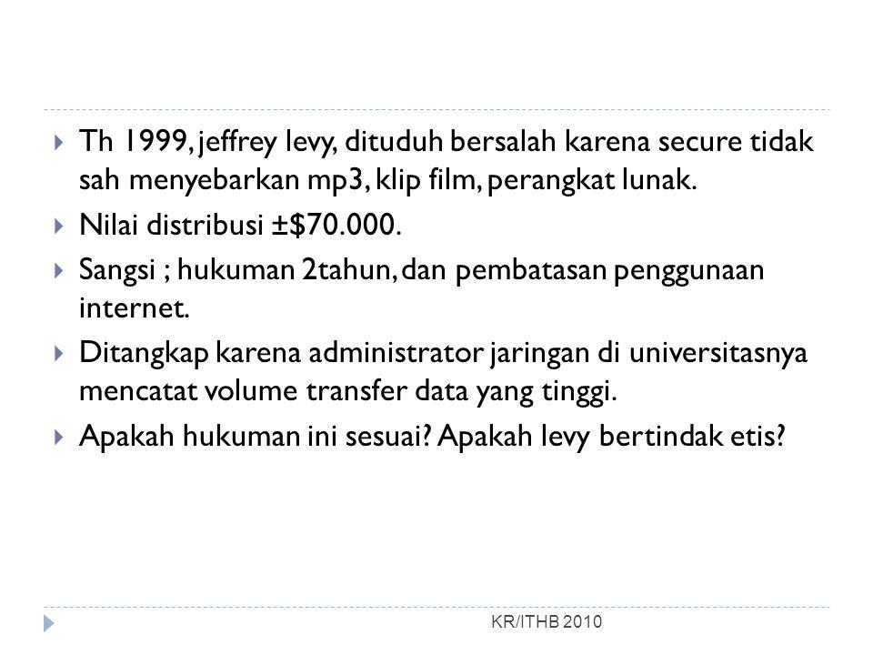  Th 1999, jeffrey levy, dituduh bersalah karena secure tidak sah menyebarkan mp3, klip film, perangkat lunak.  Nilai distribusi ±$70.000.  Sangsi ;