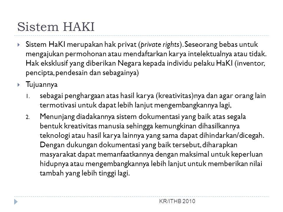 Sistem HAKI KR/ITHB 2010  Sistem HaKI merupakan hak privat (private rights). Seseorang bebas untuk mengajukan permohonan atau mendaftarkan karya inte