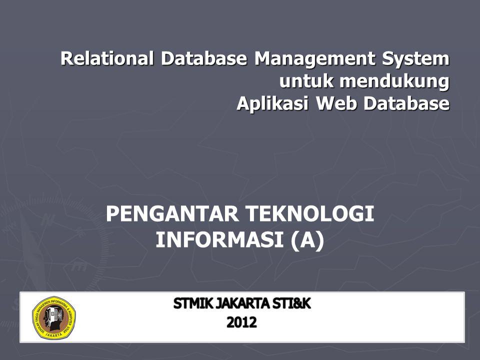 Relational Database Management System untuk mendukung Aplikasi Web Database PENGANTAR TEKNOLOGI INFORMASI (A)
