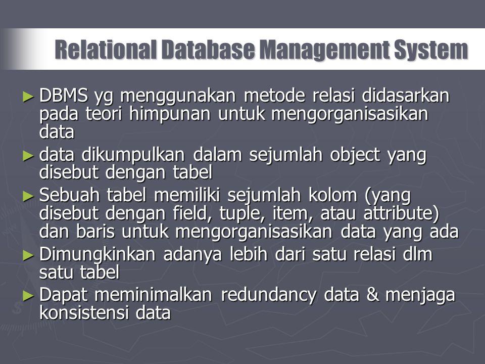 ► DBMS yg menggunakan metode relasi didasarkan pada teori himpunan untuk mengorganisasikan data ► data dikumpulkan dalam sejumlah object yang disebut
