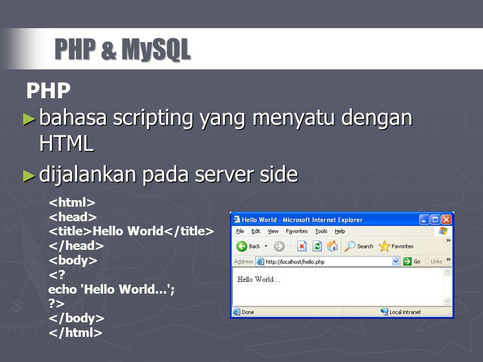 ► bahasa scripting yang menyatu dengan HTML ► dijalankan pada server side PHP & MySQL Hello World <? echo 'Hello World…'; ?> PHP